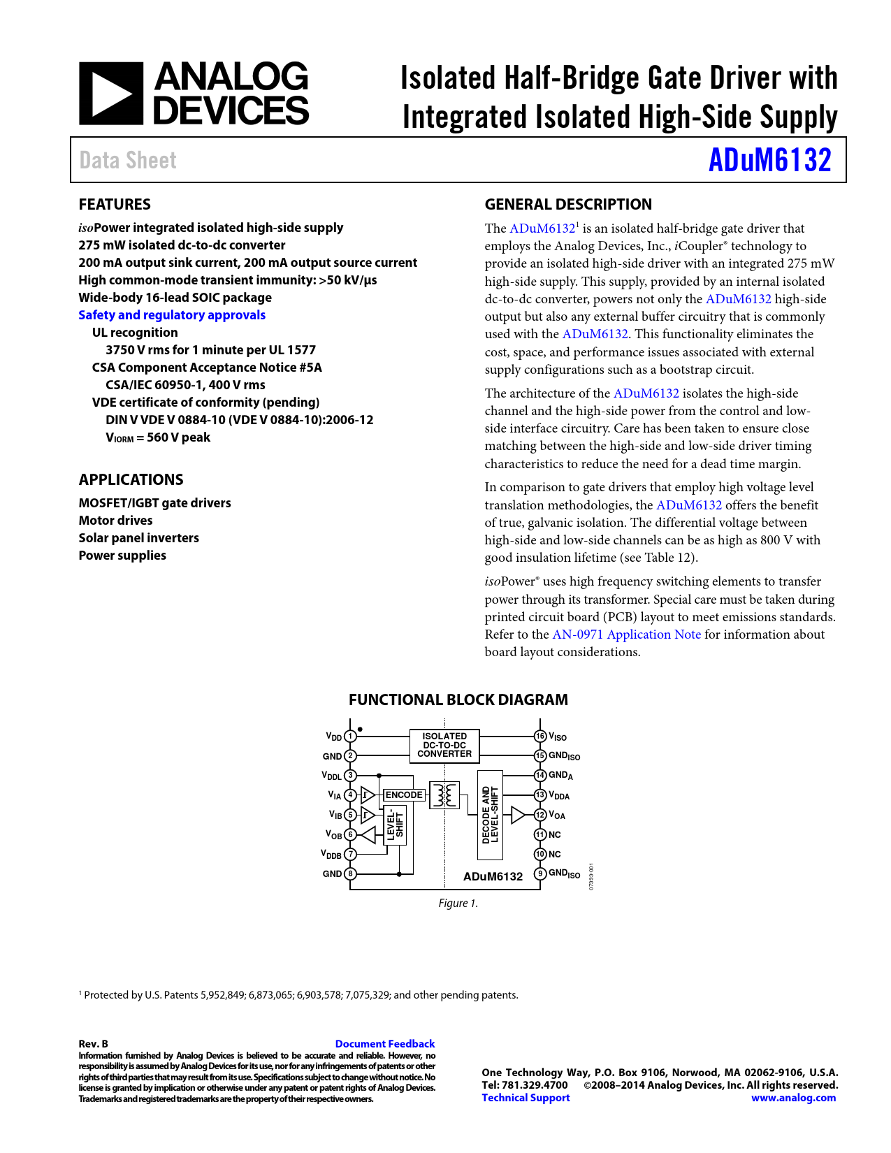 Datasheet ADUM6132 Analog Devices, Revision: B