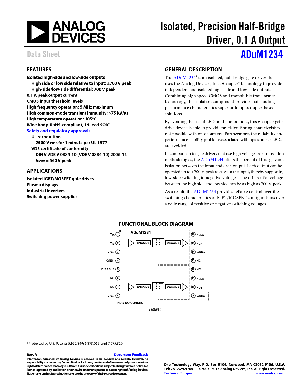 Datasheet ADUM1234 Analog Devices