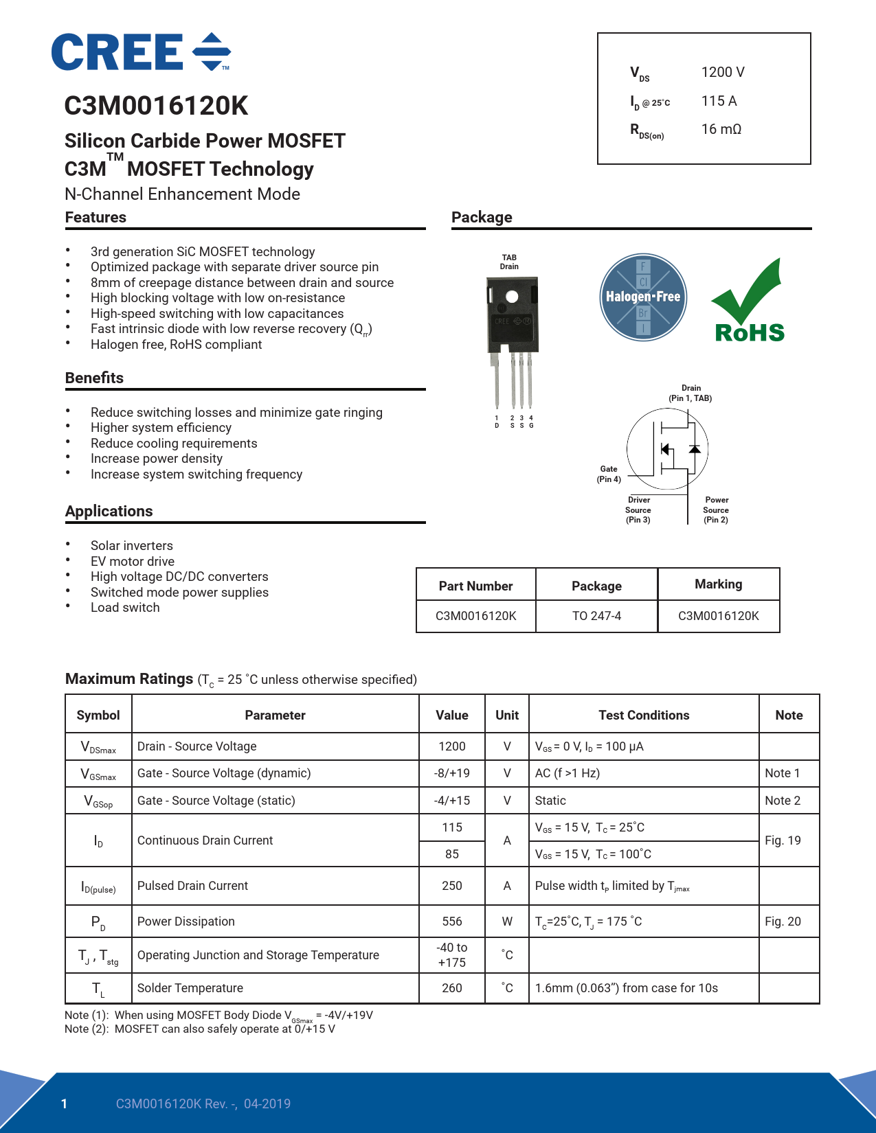 Datasheet C3M0016120K Wolfspeed