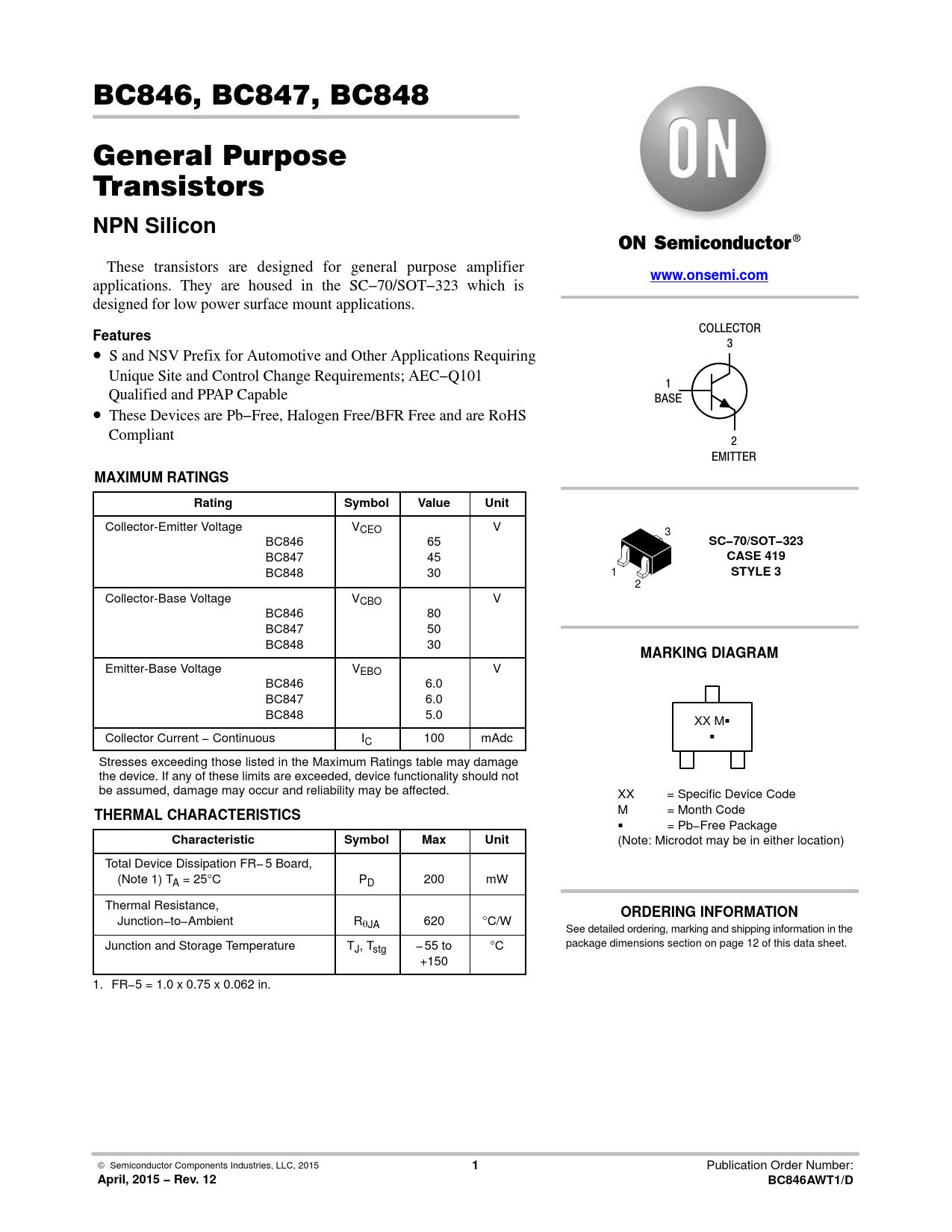 Datasheet BC846, BC847, BC848 ON Semiconductor, Версия: 12