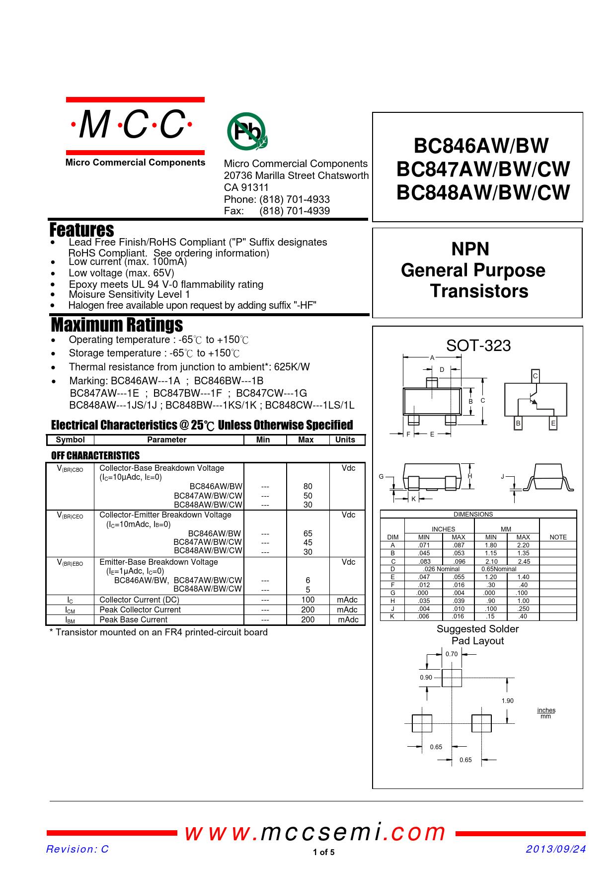 Datasheet BC846AW, BC846BW, BC847AW, BC847BW, BC847CW, BC848AW, BC848BW, BC848CW MCC