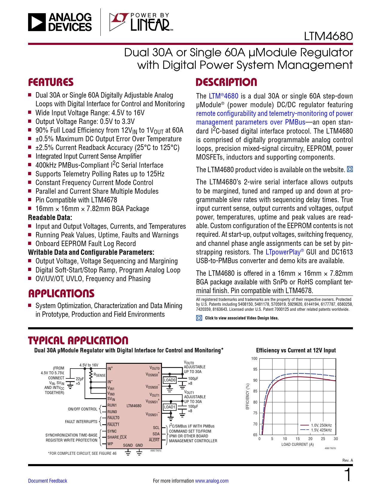 Datasheet LTM4680 Analog Devices, Версия: A