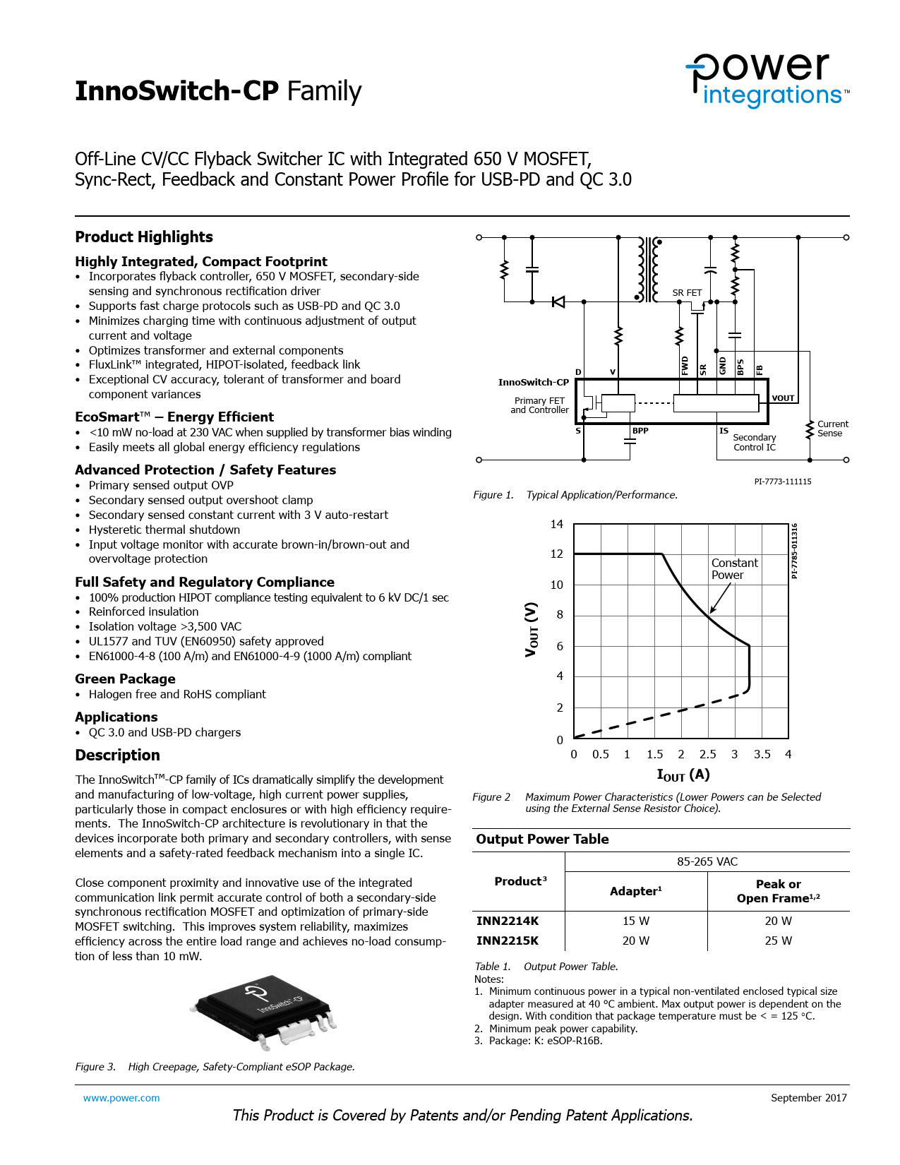 Datasheet InnoSwitch-CP Power Integrations