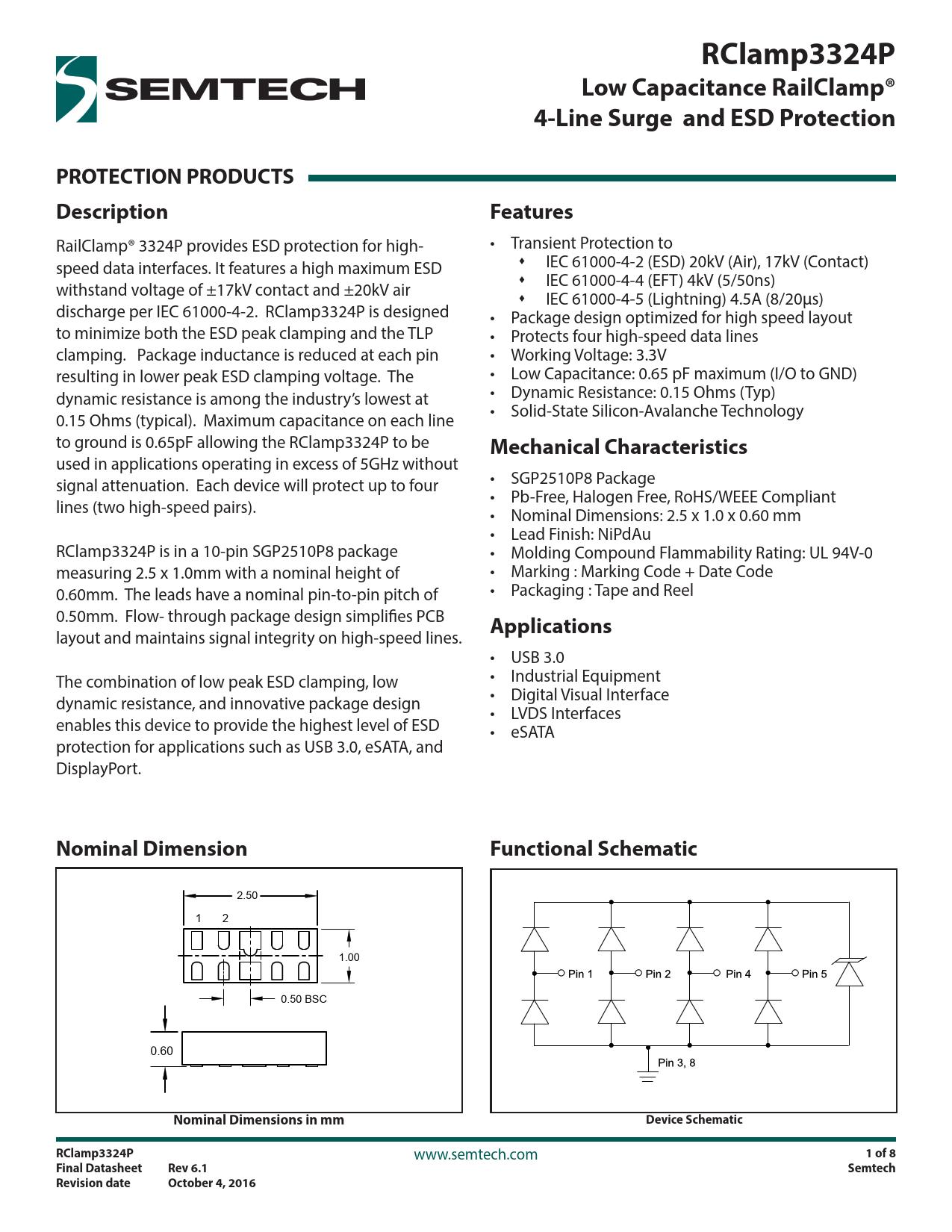 Datasheet RClamp3324P Semtech