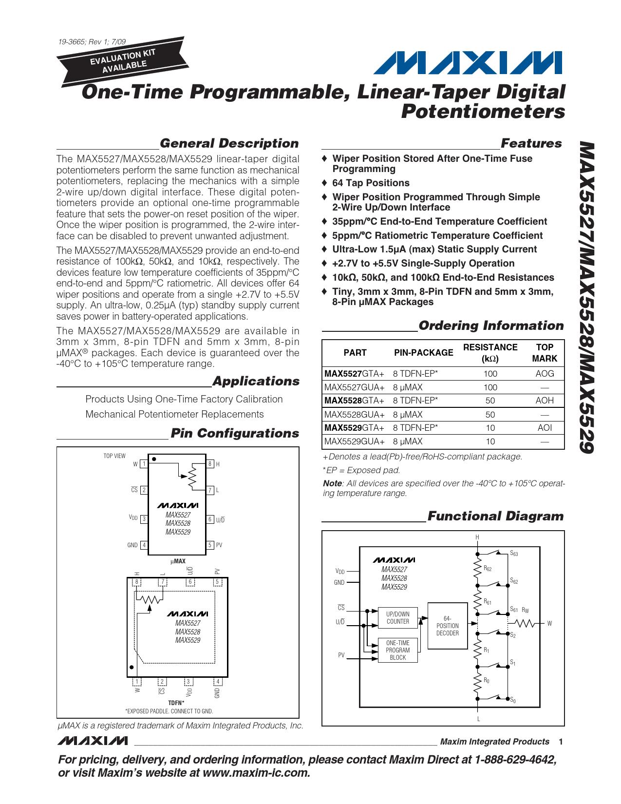 Datasheet MAX5527, MAX5528, MAX5529 Maxim