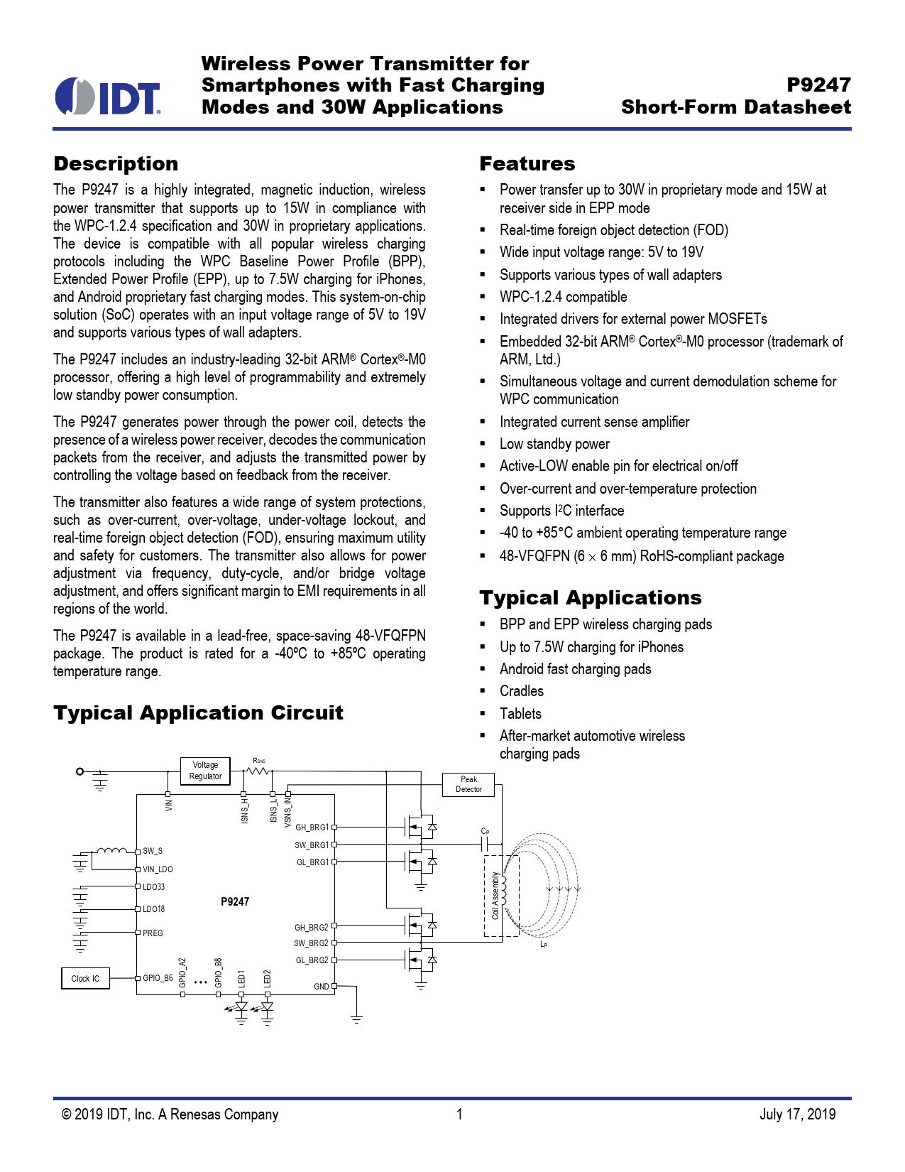 Short-Form Datasheet P9247 IDT