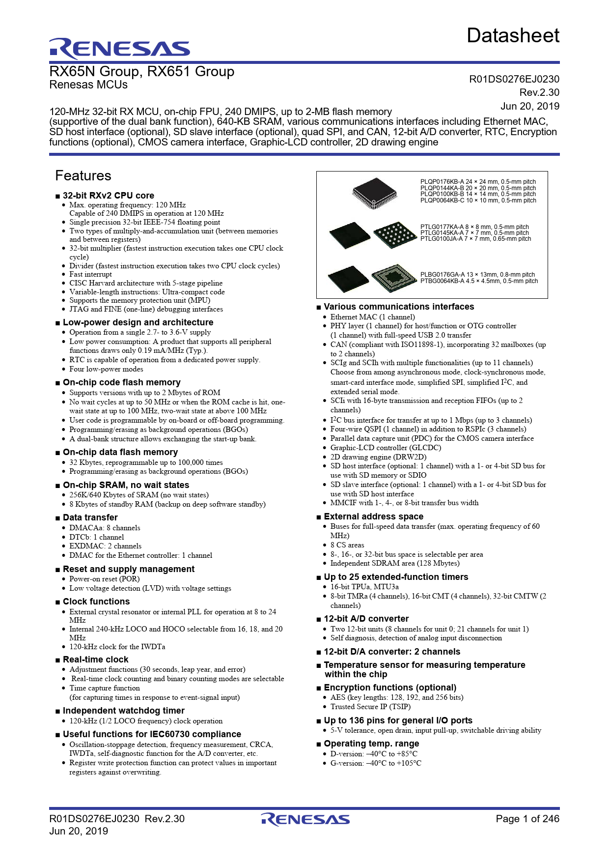 Datasheet RX65N, RX651 Groups Renesas