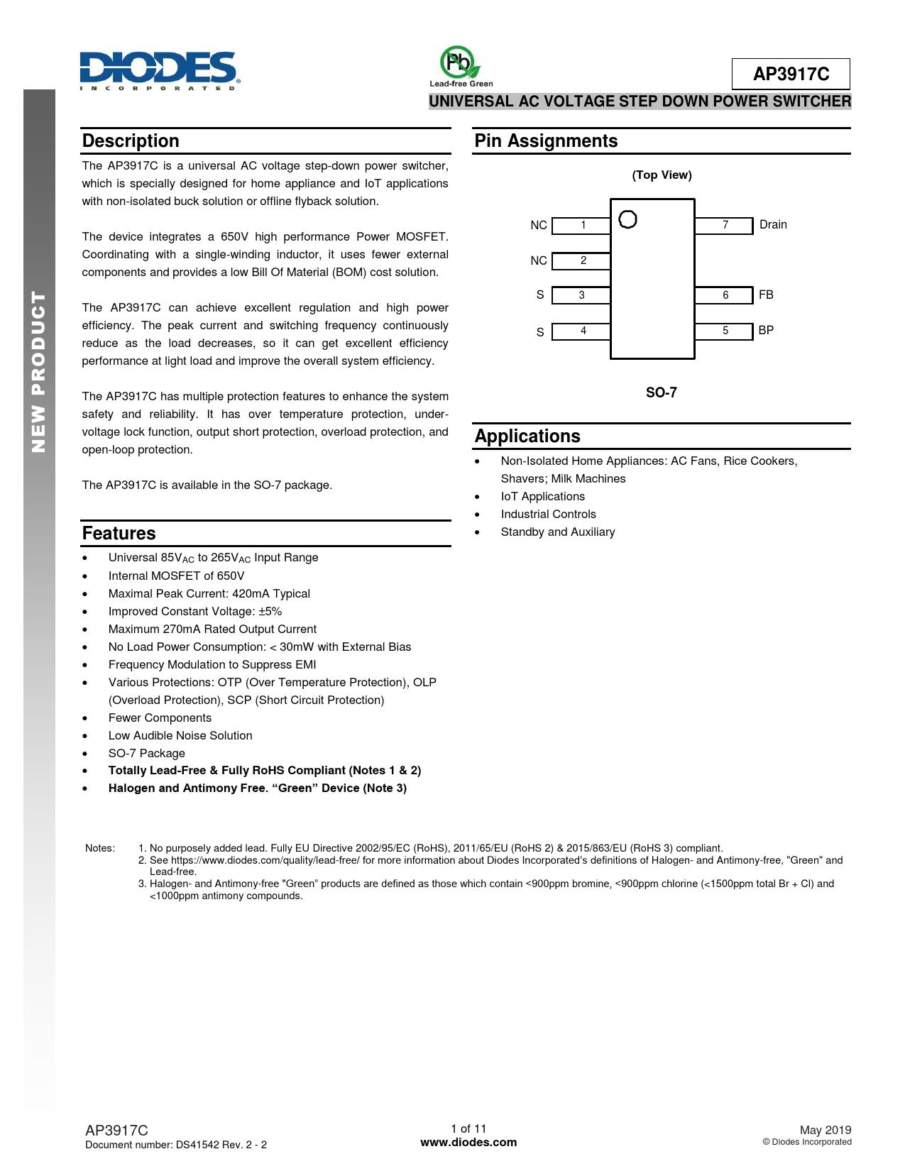 Datasheet AP3917C Diodes