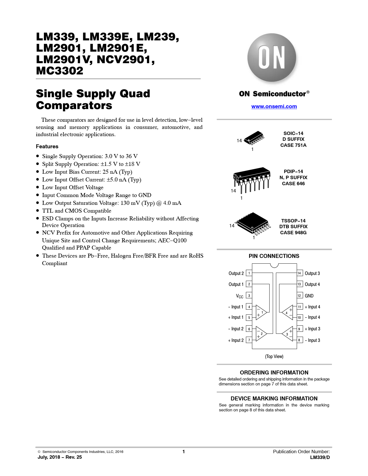 Datasheet LM339, LM339E, LM239, LM2901, LM2901E, LM2901V, NCV2901, MC3302 ON Semiconductor, Revision: 25