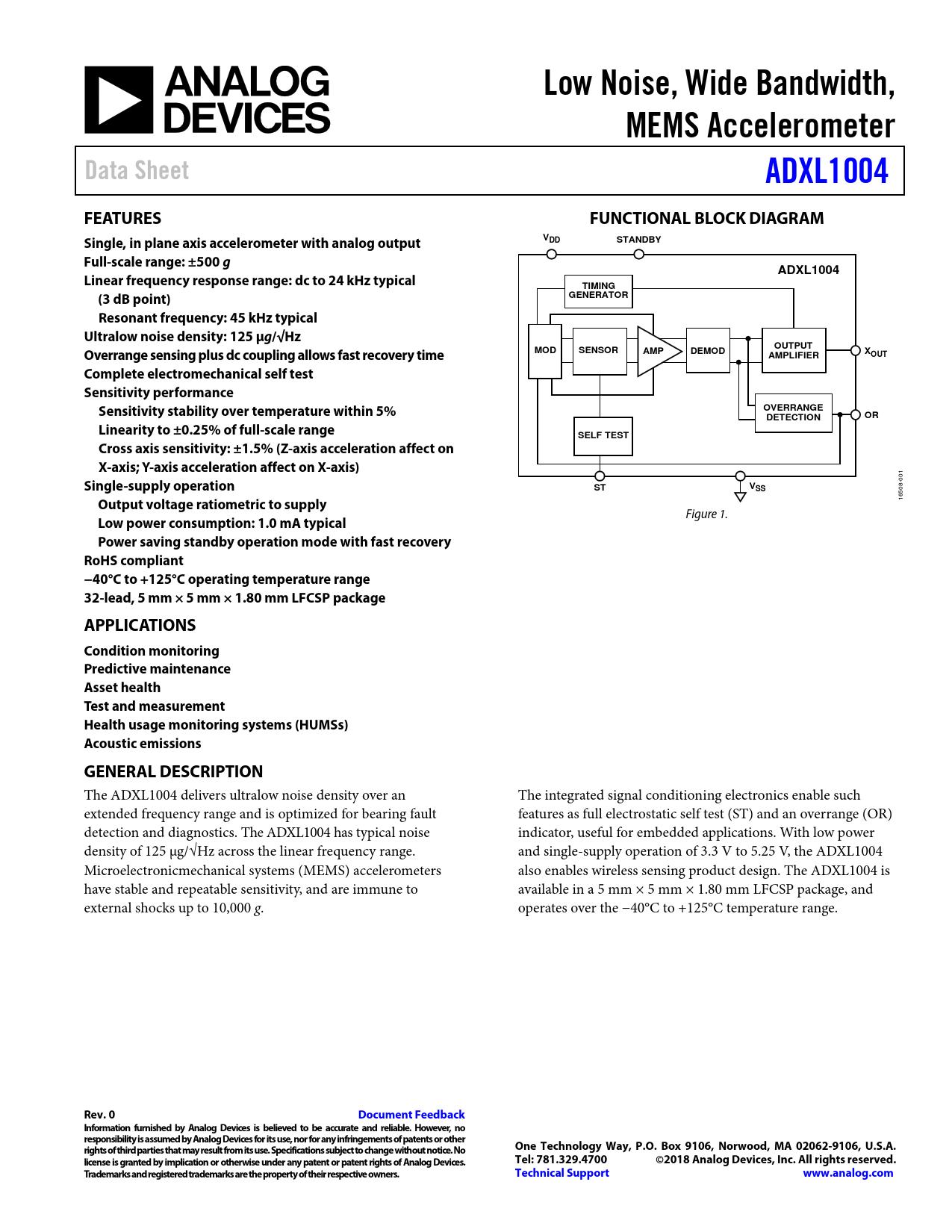 Datasheet ADXL1004 Analog Devices