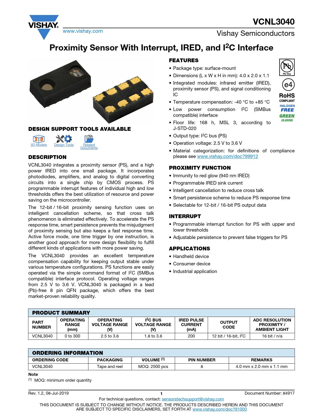 Datasheet VCNL3040 Vishay