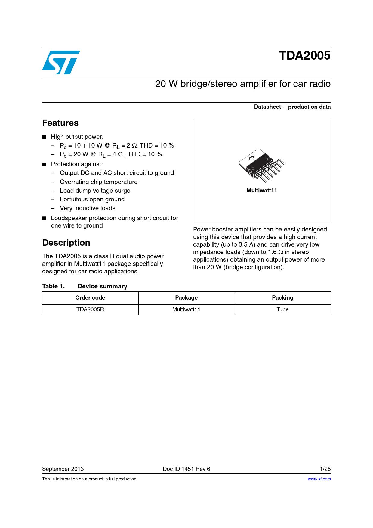 Datasheet TDA2005 STMicroelectronics