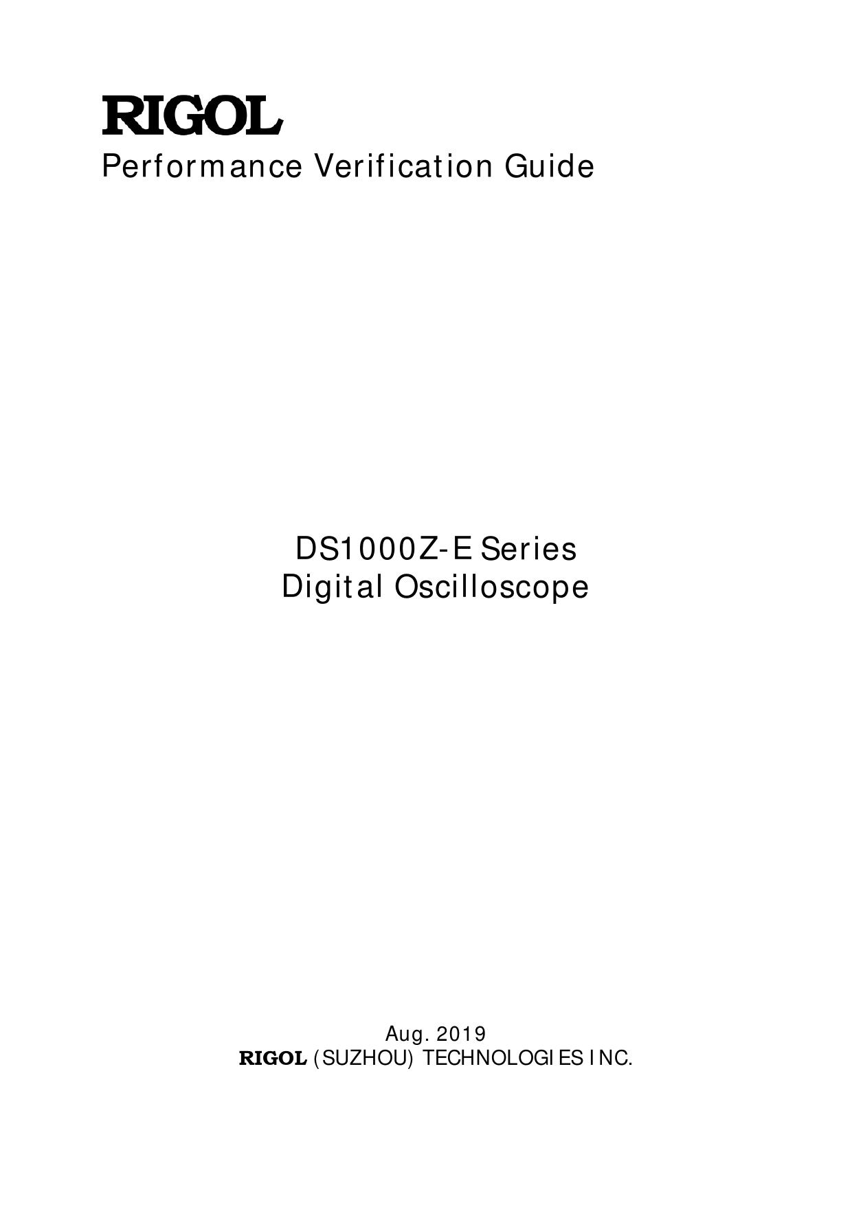 Performance Verification Guide DS1000Z-E Series Rigol