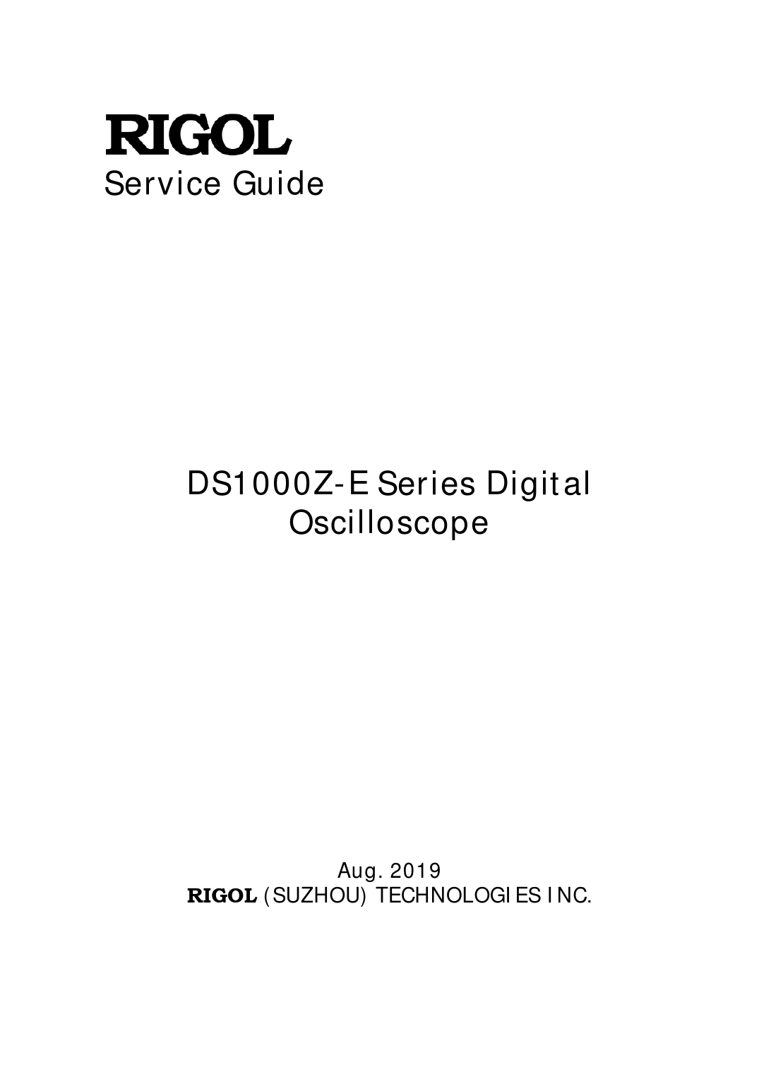 Service Guide DS1000Z-E Series Rigol