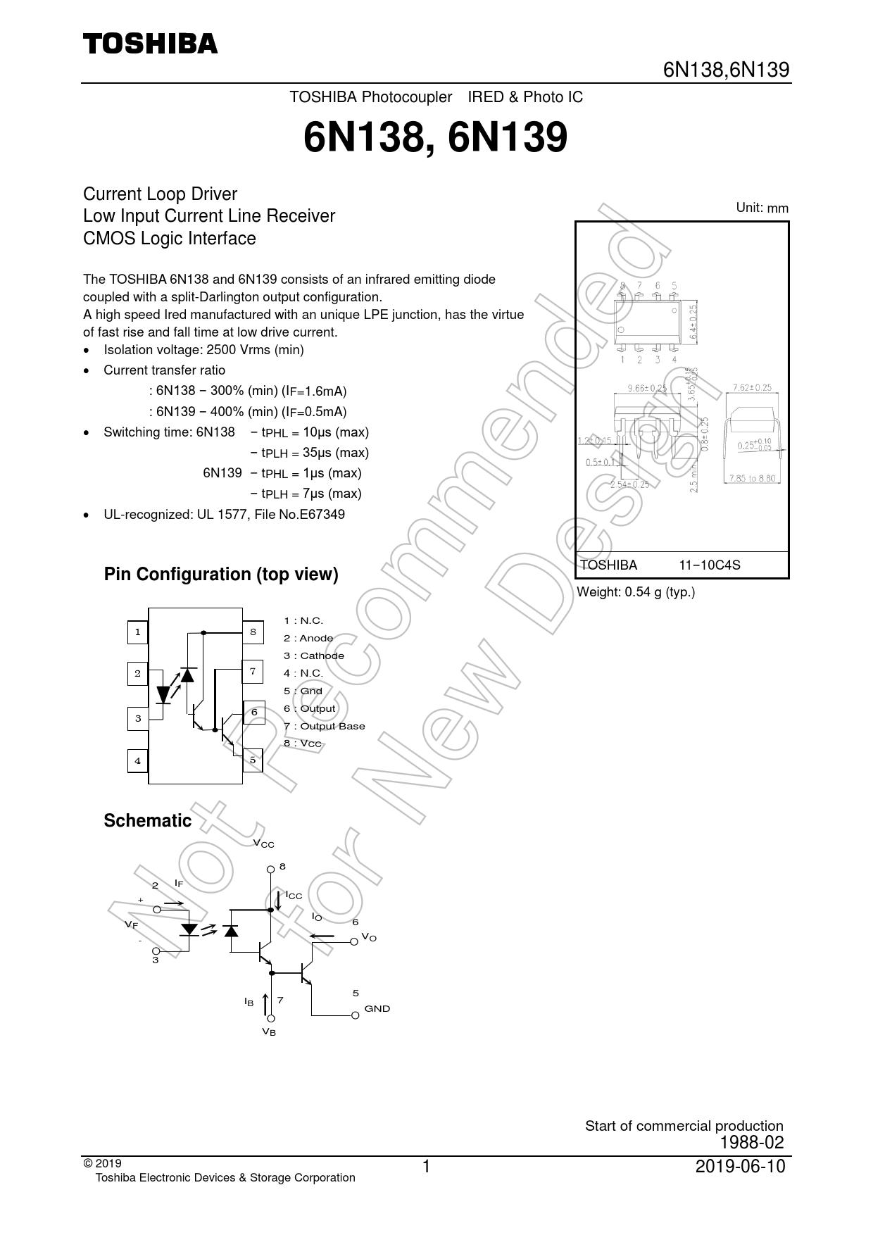 Datasheet 6N138, 6N139 Toshiba