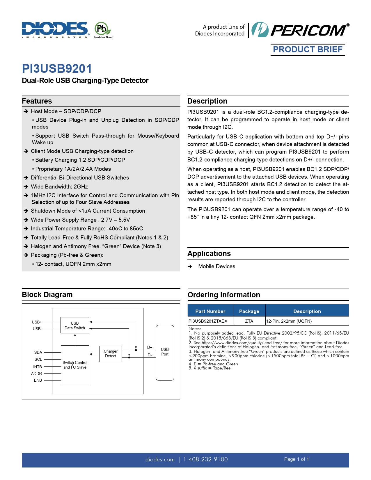 Data Brief PI3USB9201 Diodes