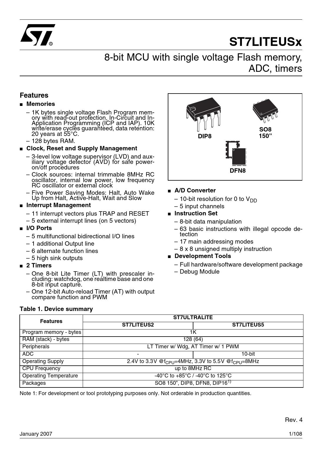 Datasheet ST7LITEUSx STMicroelectronics