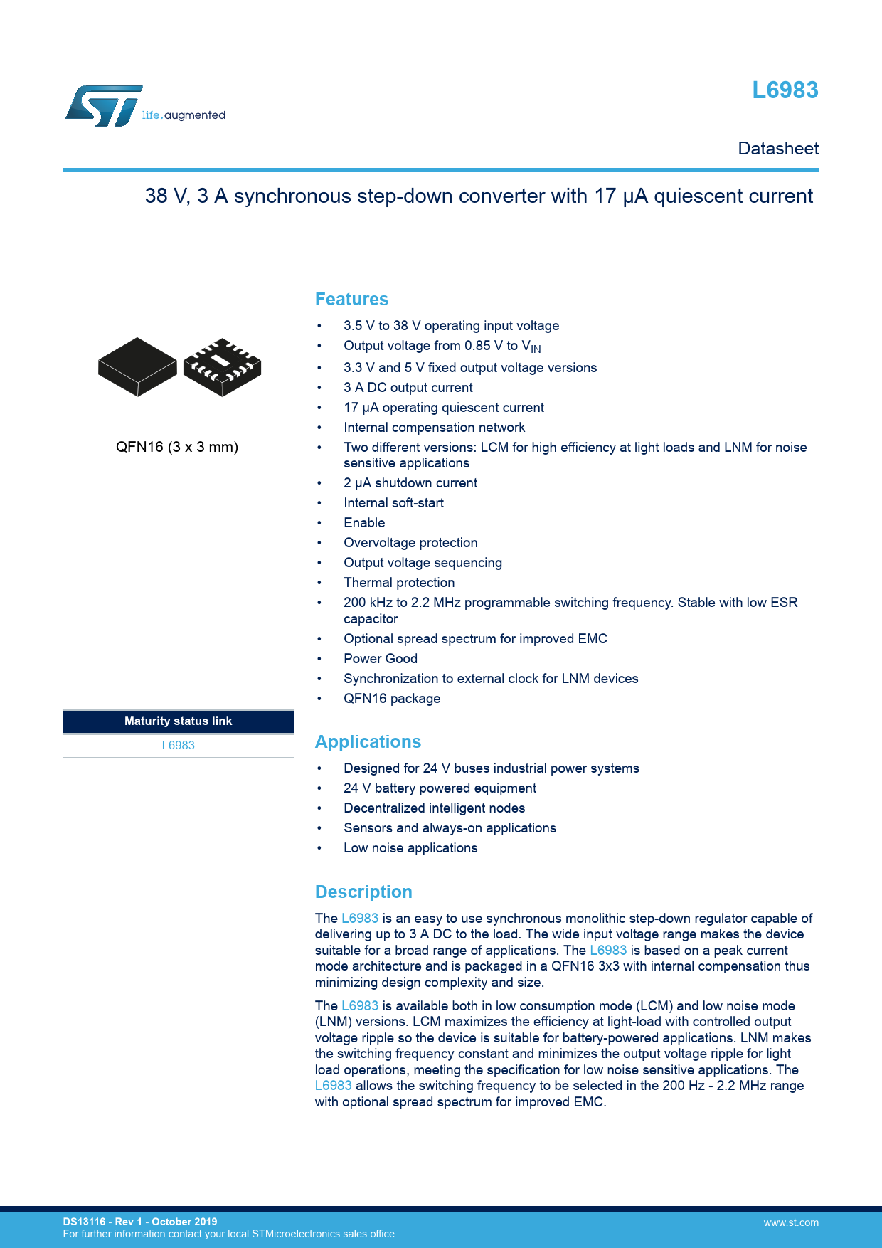 Datasheet L6983 STMicroelectronics