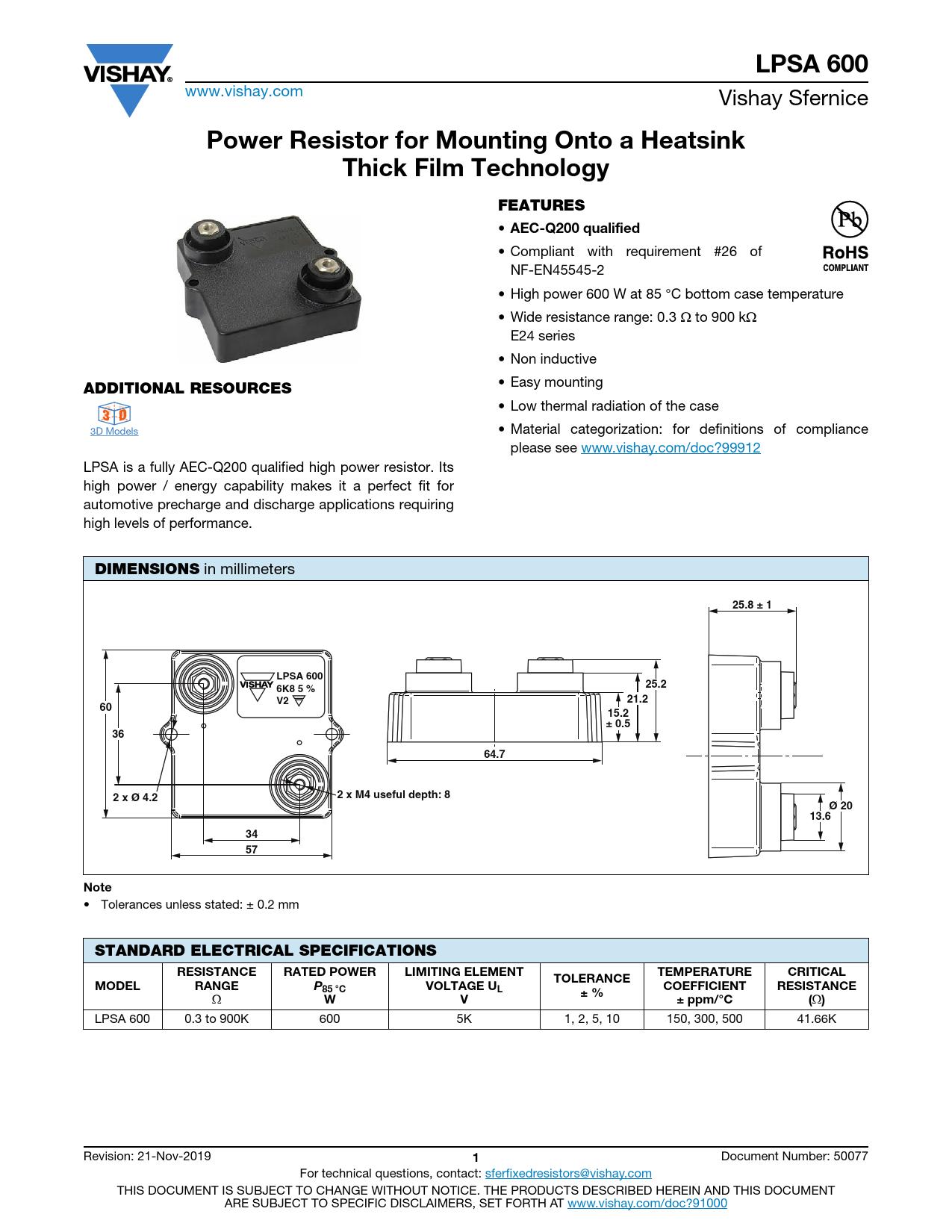 Datasheet LPSA 600 Vishay