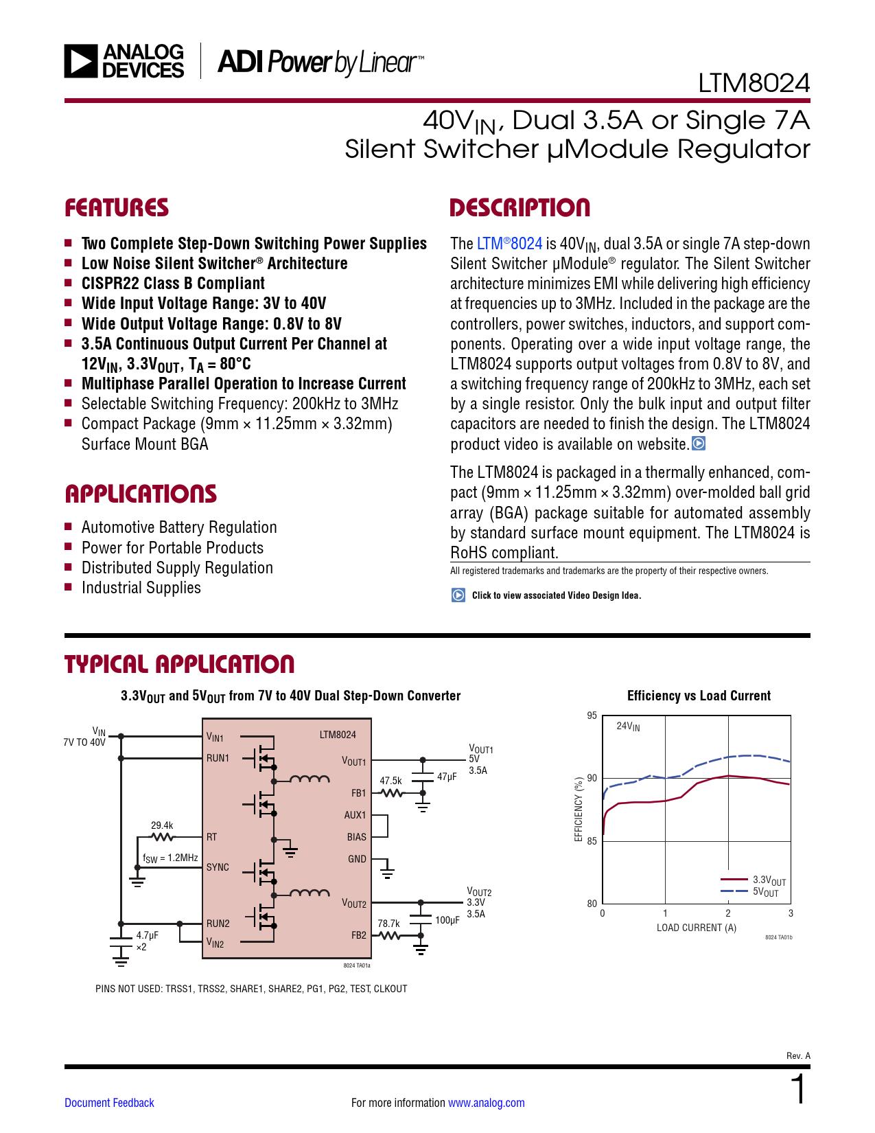Datasheet LTM8024 Analog Devices, Версия: A