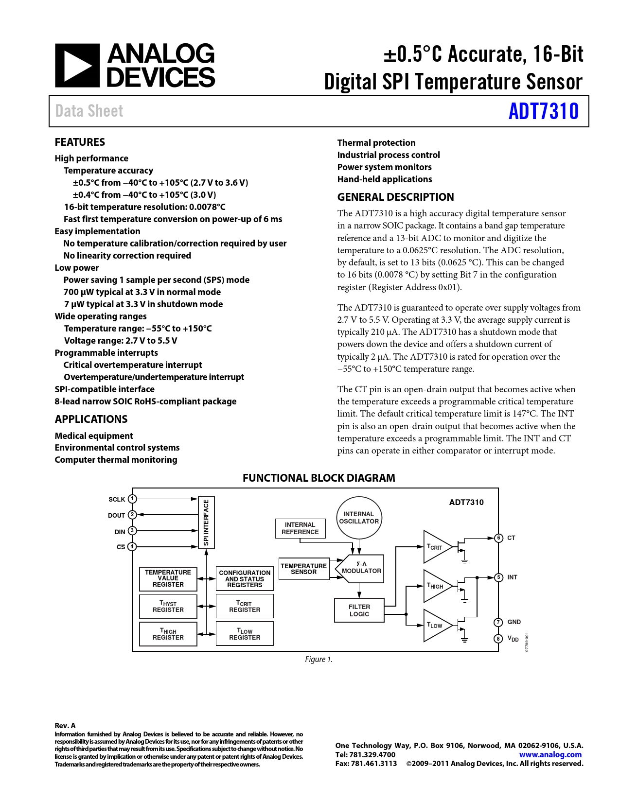 Datasheet ADT7310 Analog Devices, Версия: A