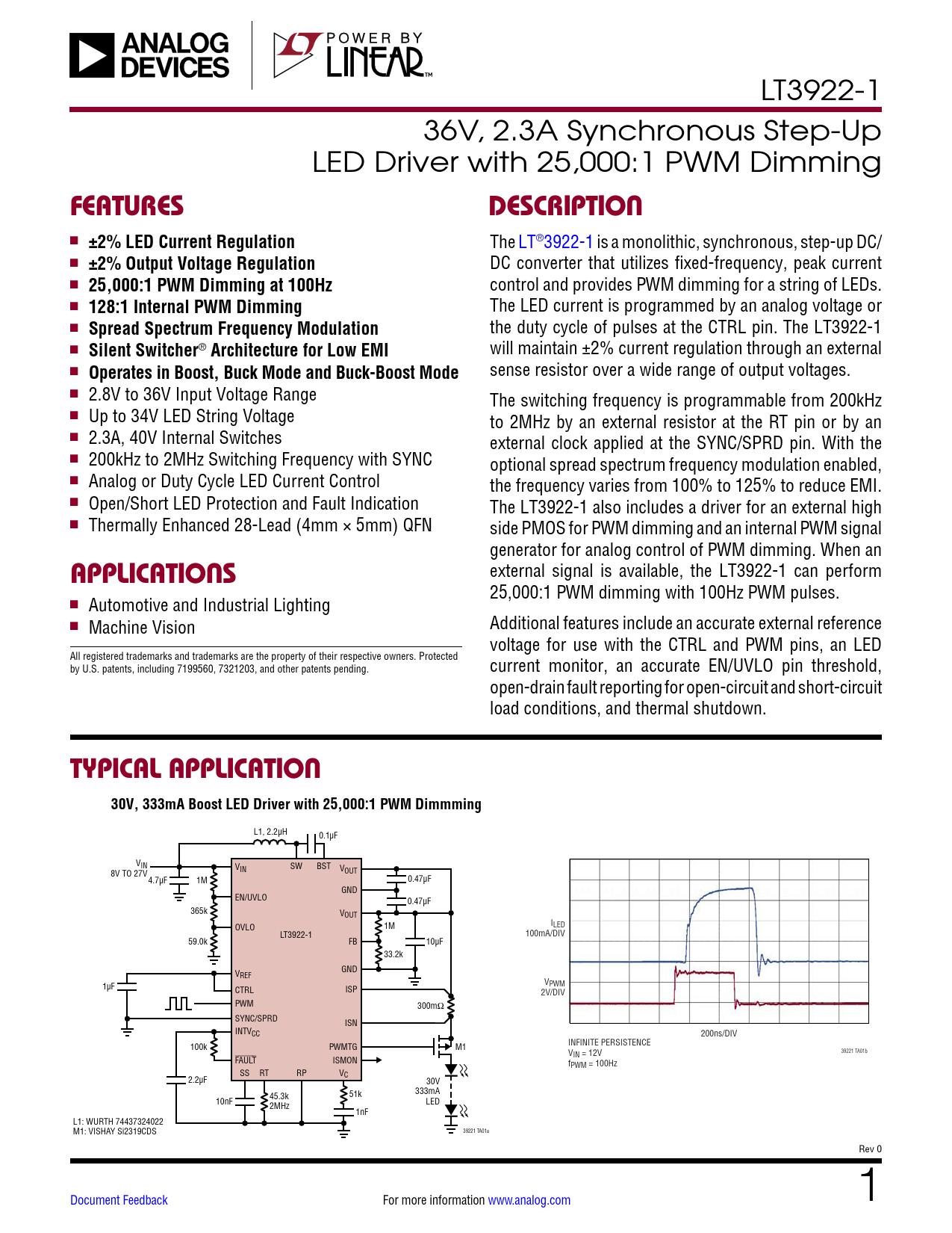 Datasheet LT3922-1 Analog Devices