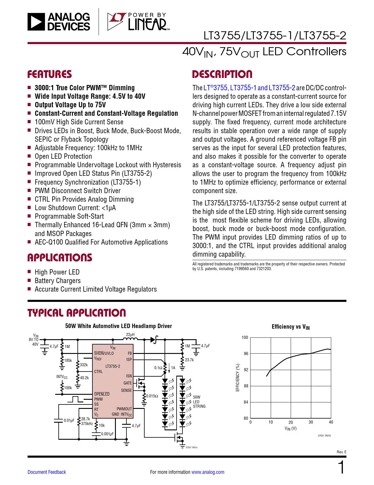 Datasheet LT3755, LT3755-1, LT3755-2 Analog Devices, Версия: E