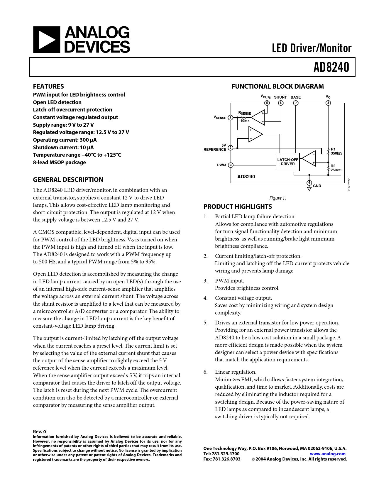 Datasheet AD8240 Analog Devices