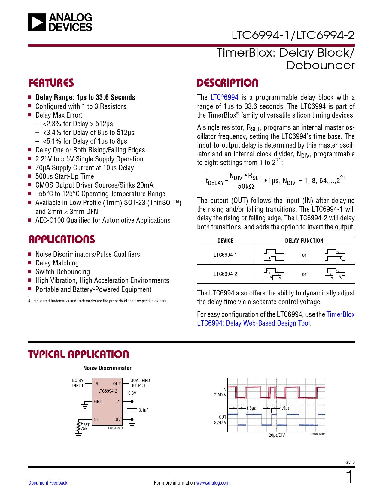Datasheet LTC6994-1, LTC6994-2 Analog Devices, Версия: C