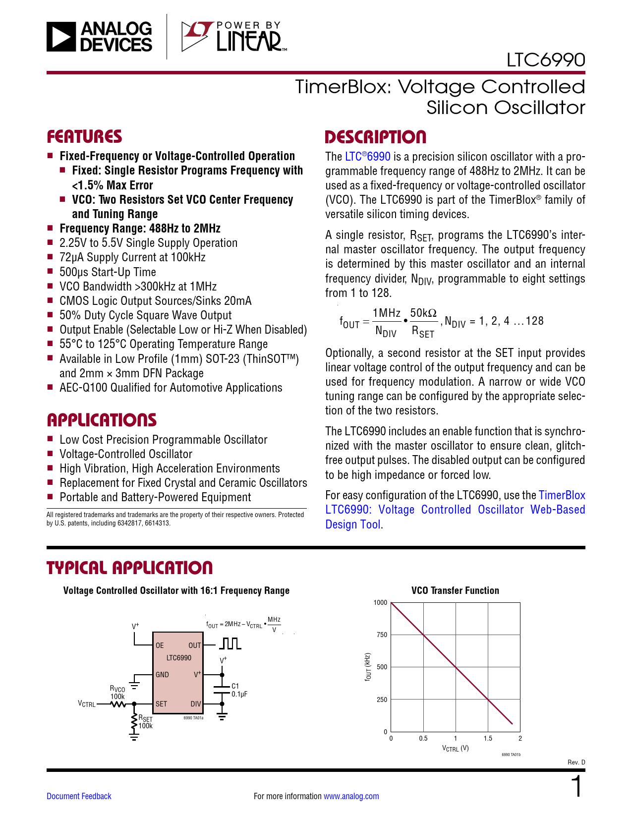 Datasheet LTC6990 Analog Devices, Revision: D