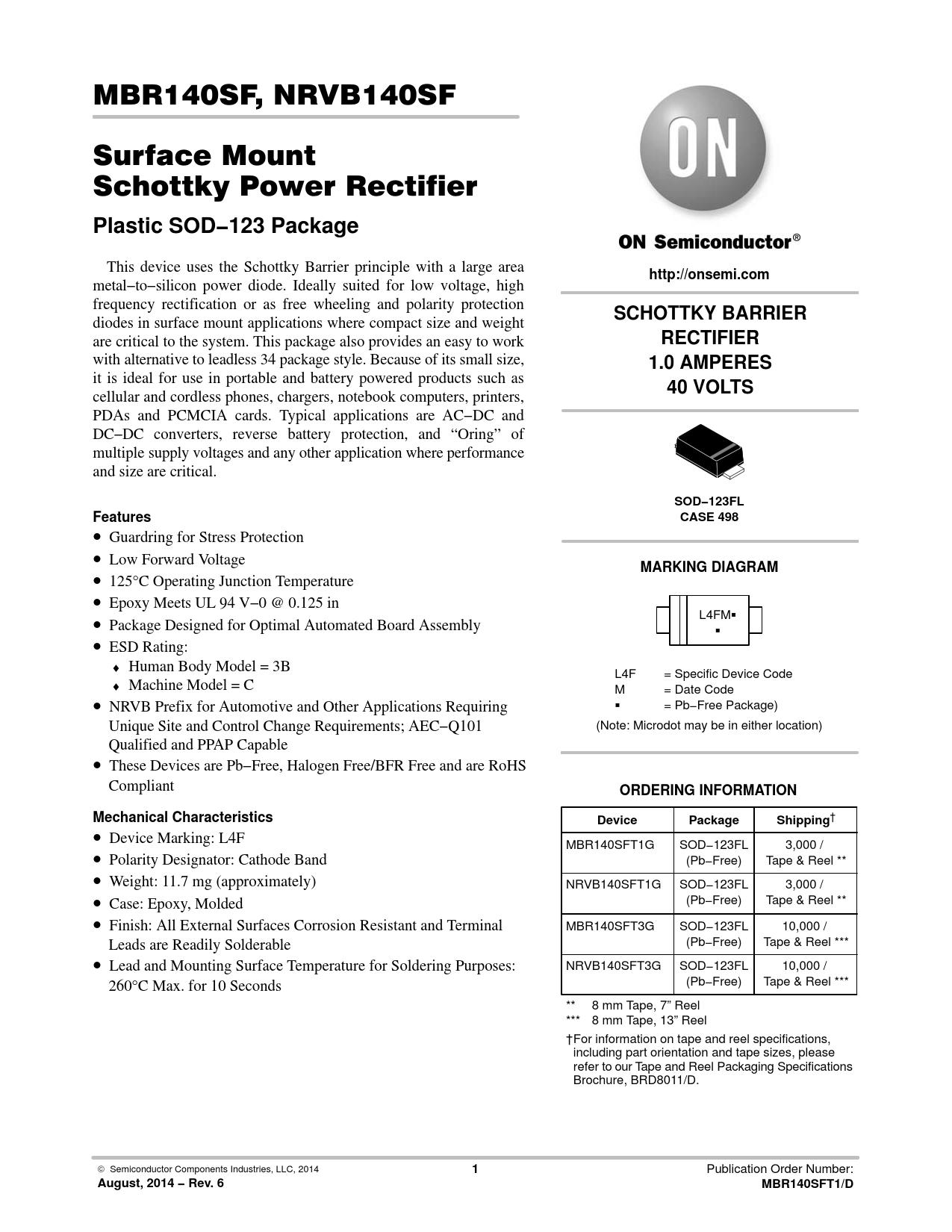 Datasheet MBR140SF, NRVB140SF ON Semiconductor, Версия: 6