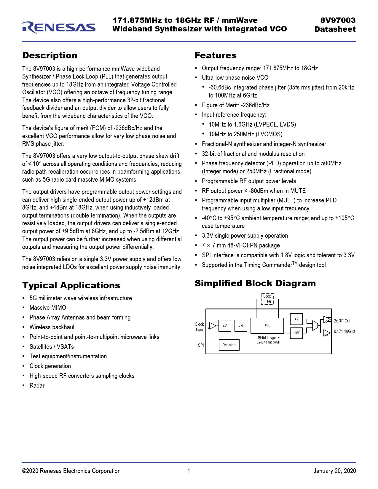 Datasheet 8V97003 IDT, Версия: 20200120
