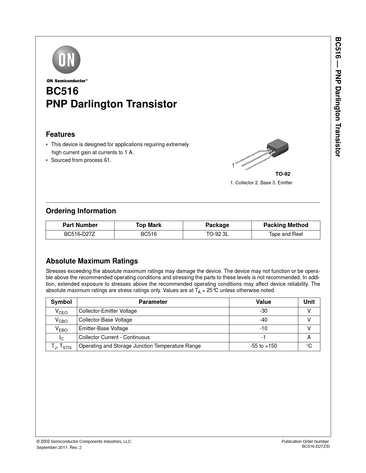 Datasheet BC516 ON Semiconductor