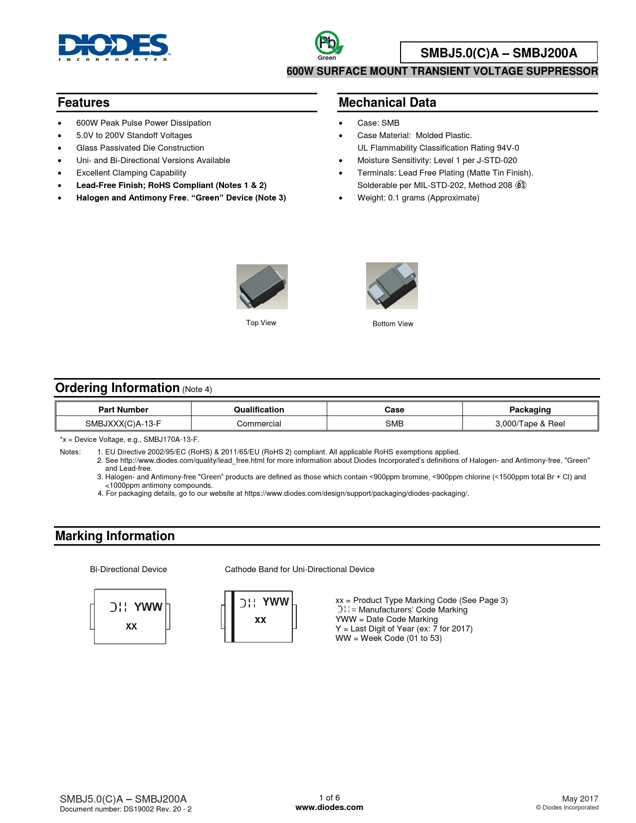 Datasheet SMBJ5.0(C)A – SMBJ200A Diodes