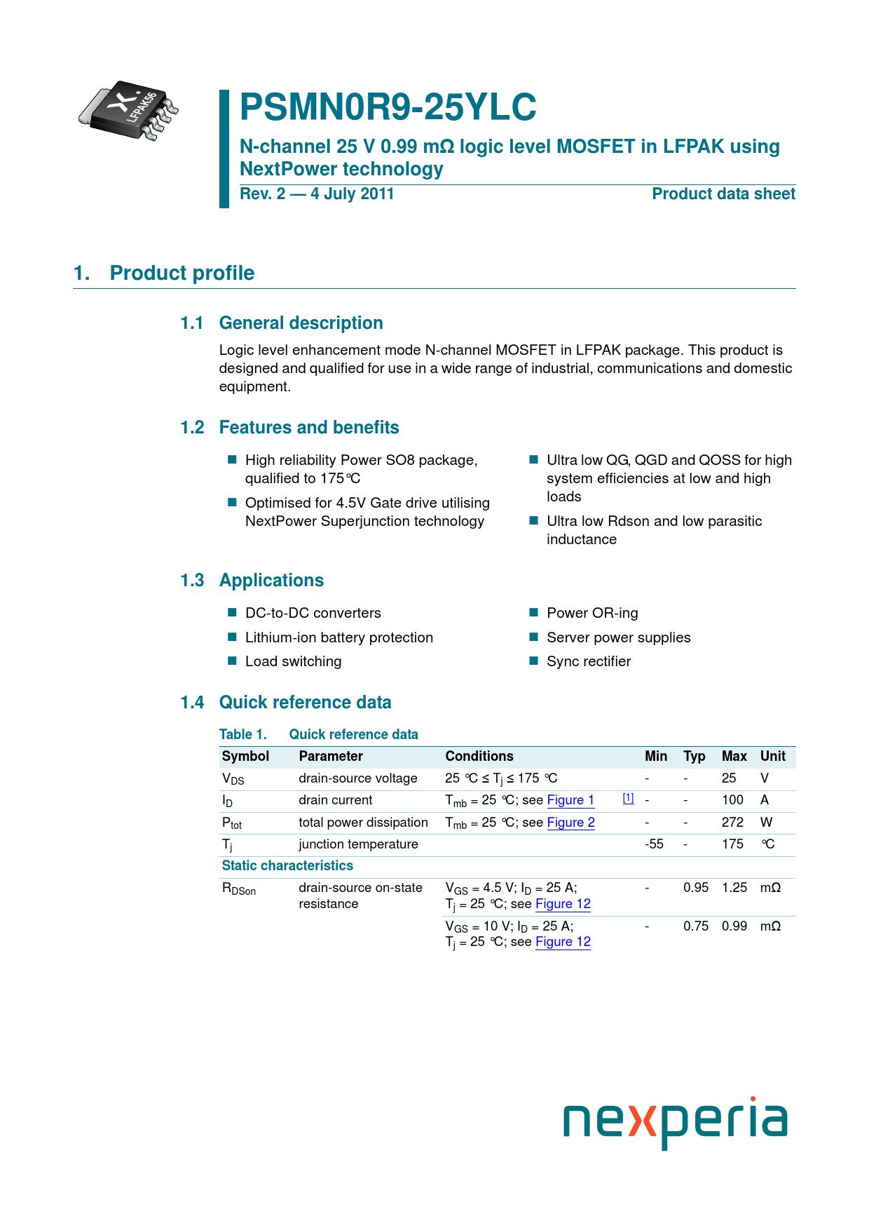 Datasheet PSMN0R9-25YLC Nexperia, Revision: 02042018