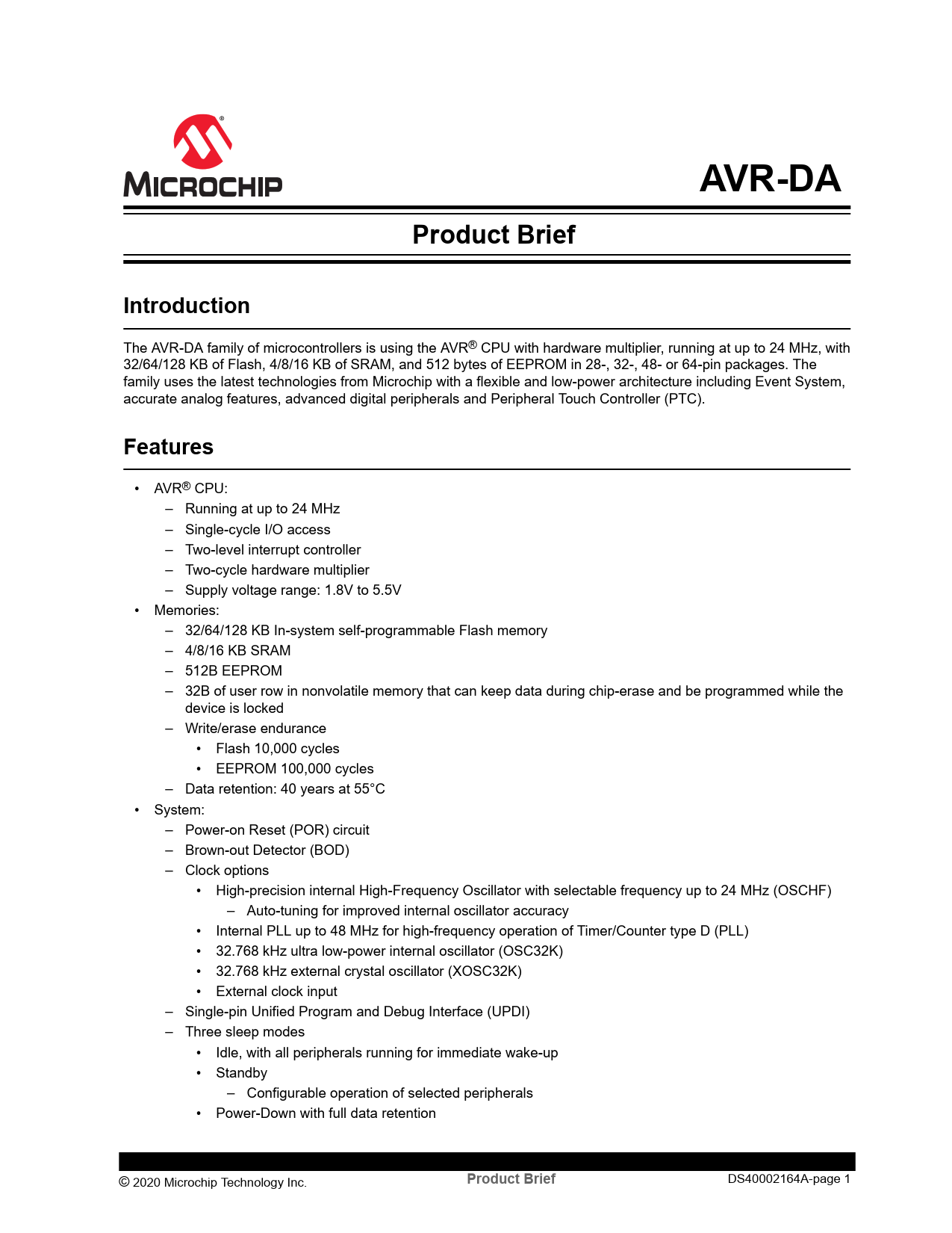 Product Brief AVR-DA Microchip