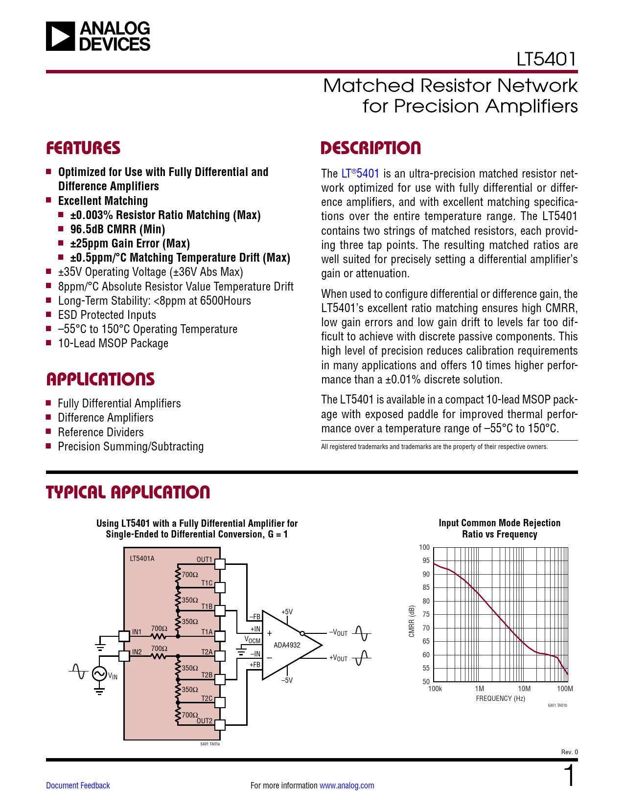 Datasheet LT5401 Analog Devices