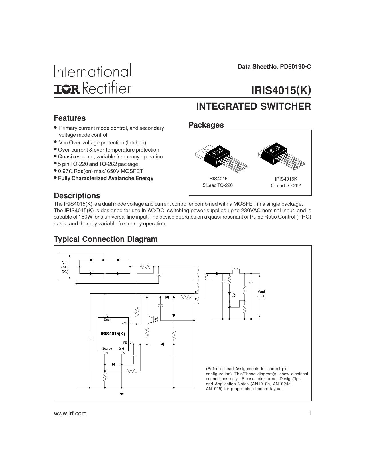 Datasheet IRIS4015 International Rectifier