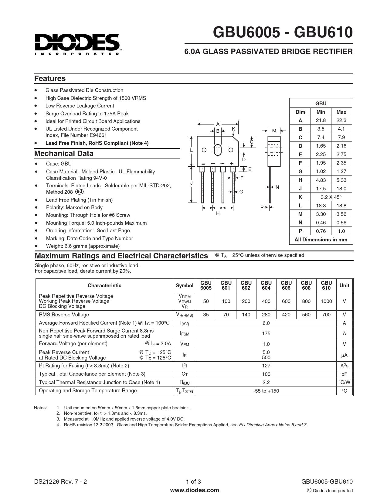 Datasheet GBU6005, GBU601, GBU602, GBU604, GBU606, GBU608, GBU610 Diodes
