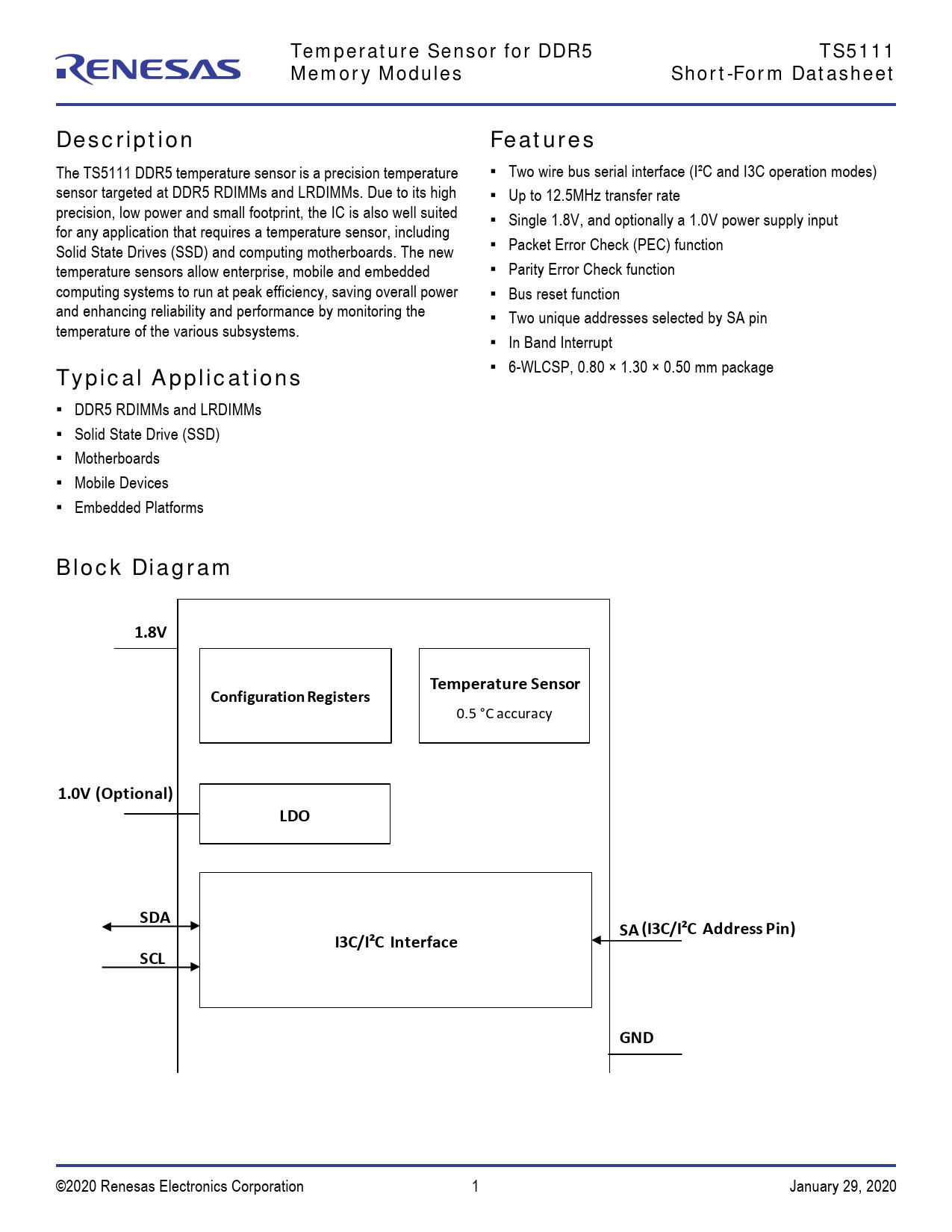 Short Form Datasheet TS5111 IDT, Версия: 20200129