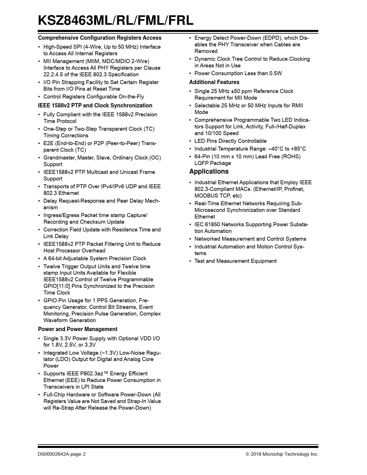 KSZ8463ML/RL/FML/FRL Comprehensive Configuration Registers Access Additional Features