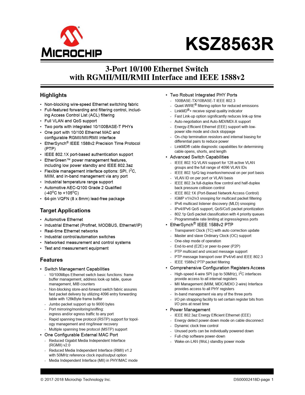 Datasheet KSZ8563R Microchip