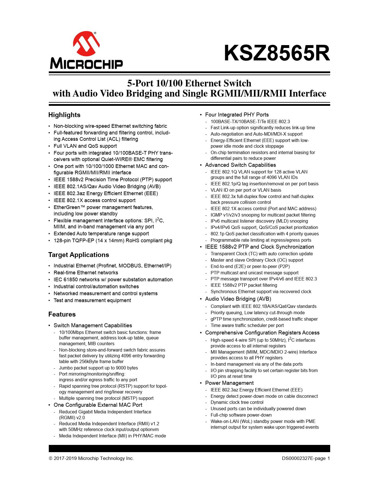 Datasheet KSZ8565R Microchip