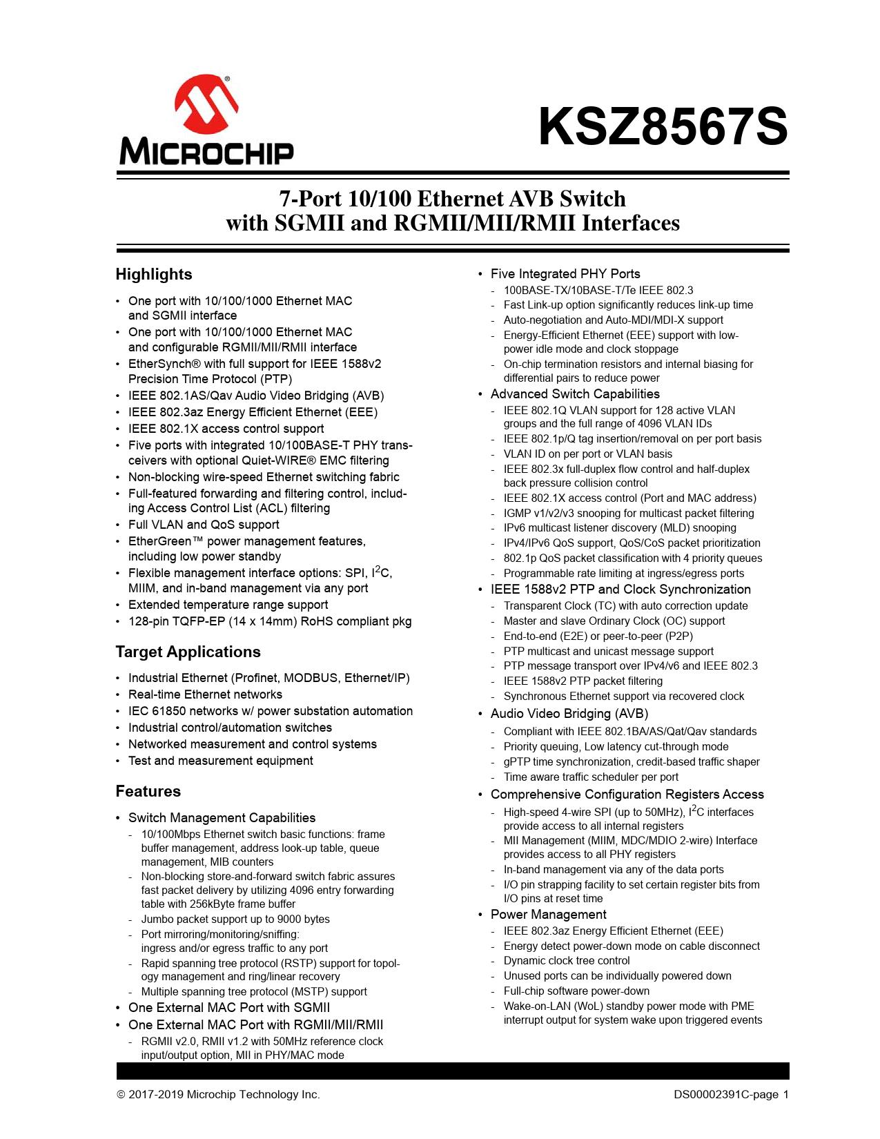 Datasheet KSZ8567S Microchip