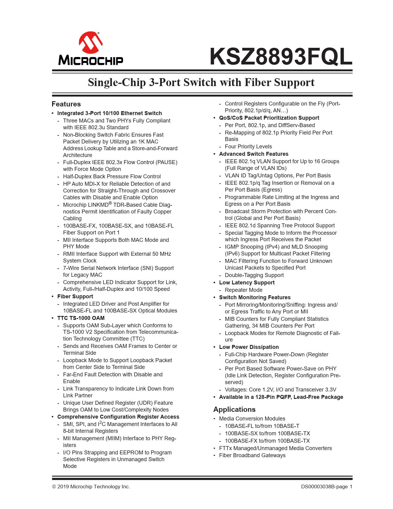 Datasheet KSZ8893FQL Microchip