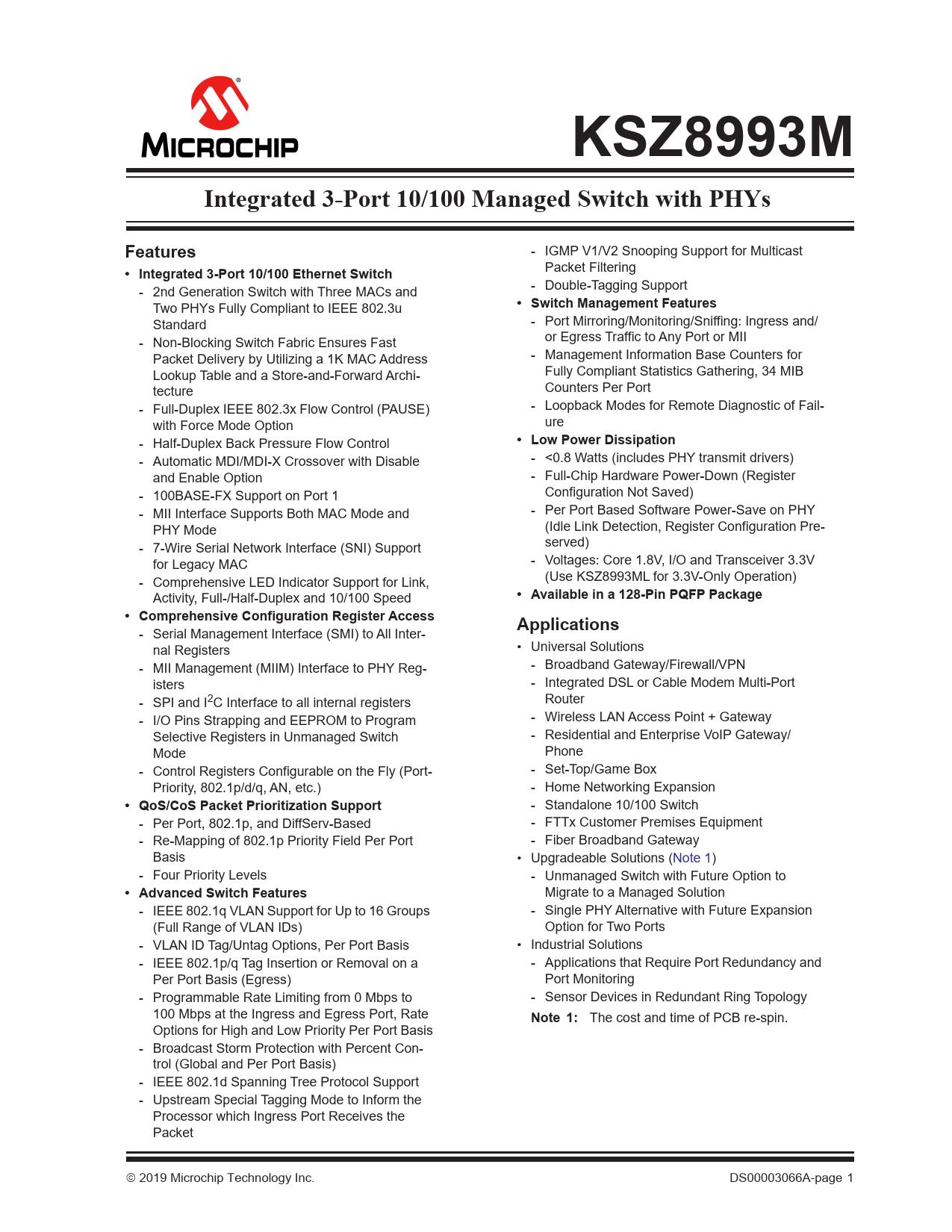 Datasheet KSZ8993M Microchip