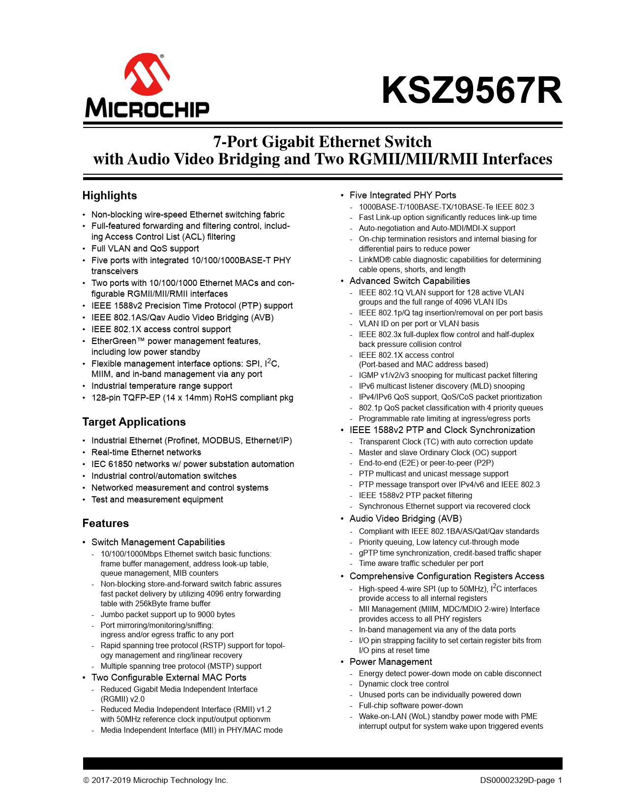 Datasheet KSZ9567R Microchip