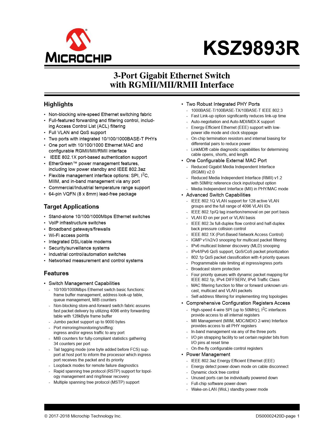 Datasheet KSZ9893R Microchip
