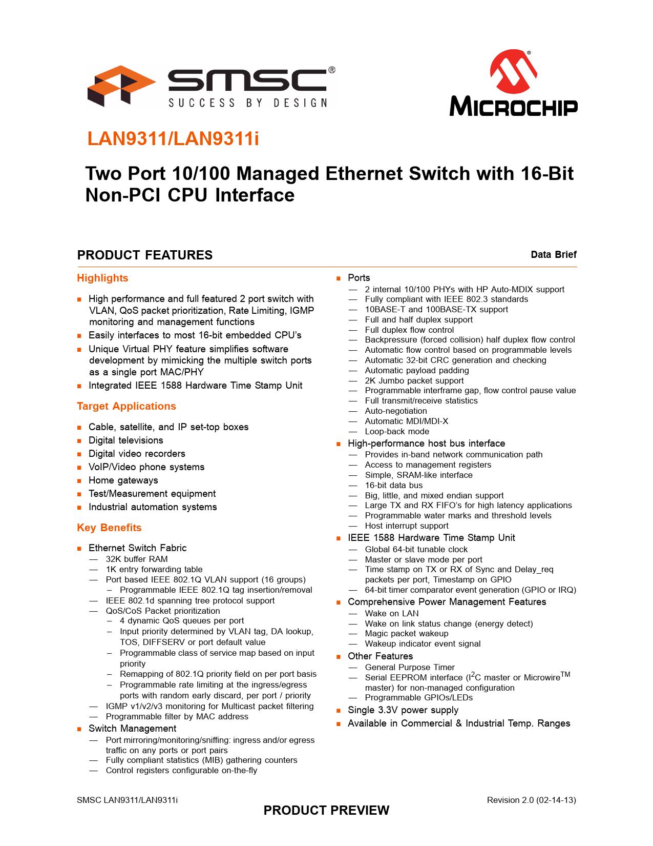 Datasheet LAN9311, LAN9311i Microchip