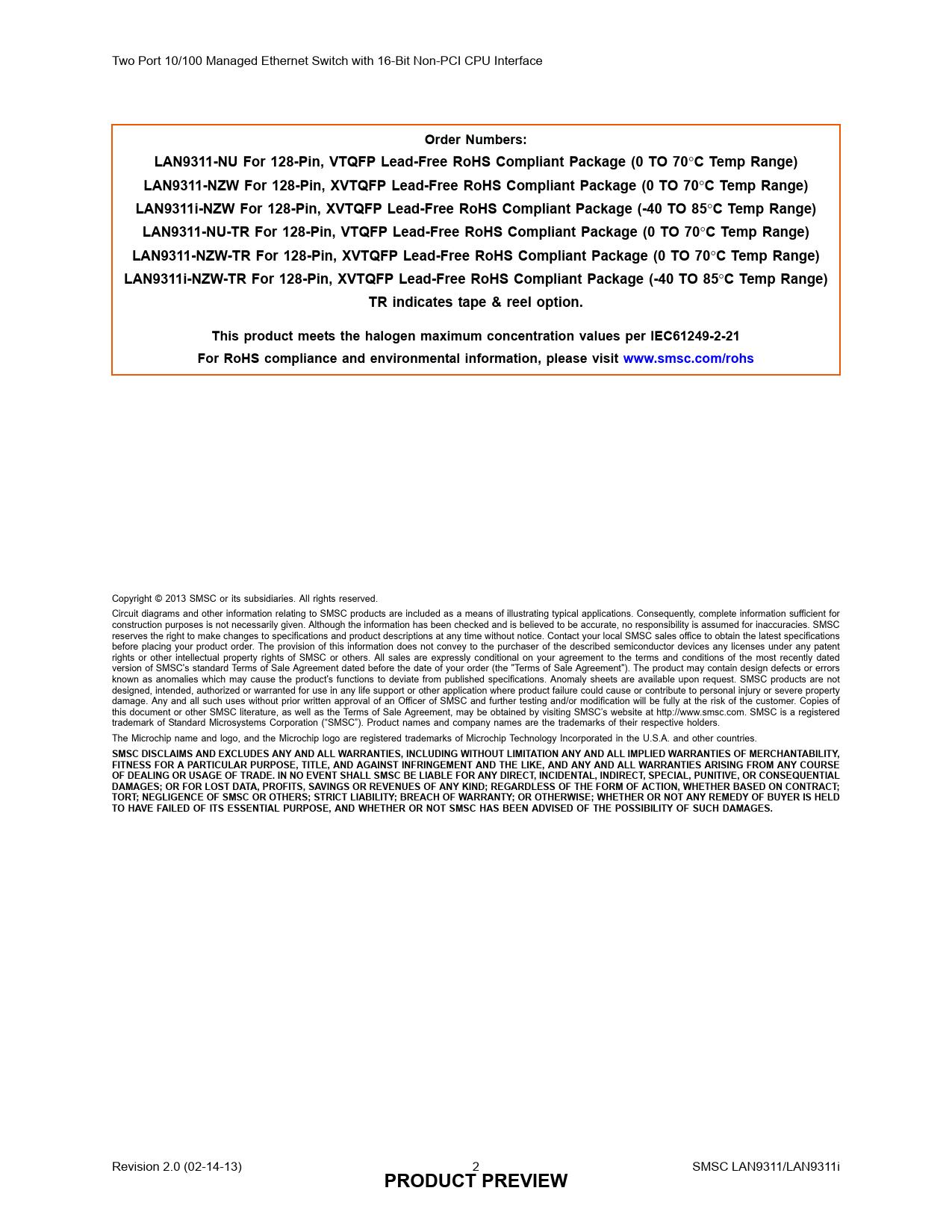Datasheet LAN9311, LAN9311i Microchip Страница 2